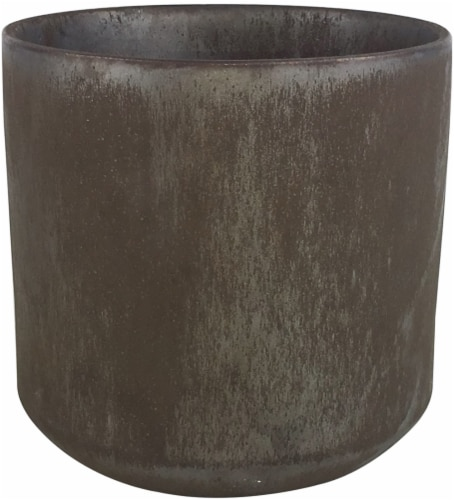 The Joy of Gardening Cylinder Planter - Metallic Bronze Perspective: front