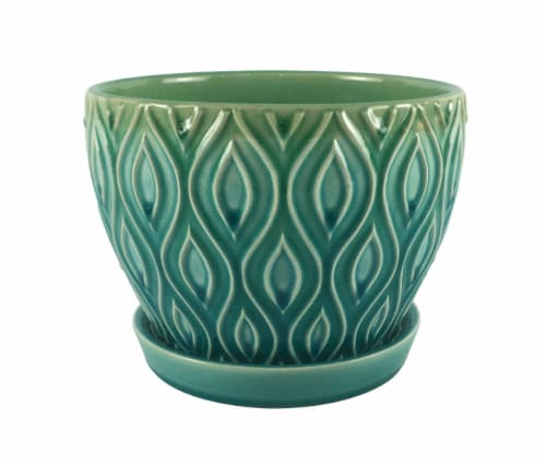 The Joy of Gardening Featherlinx Planter - Turquoise Perspective: front