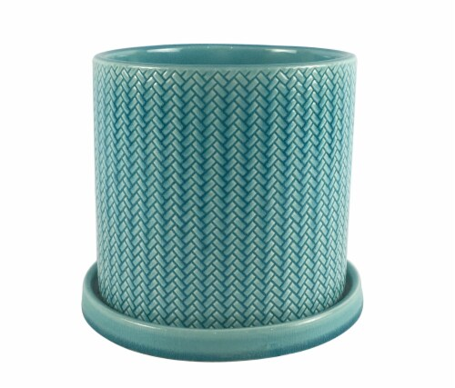The Joy of Gardening Fishscale Planter - Turquoise Perspective: front