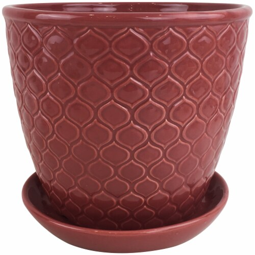 The Joy of Gardening Ventura Planter - Red Perspective: front