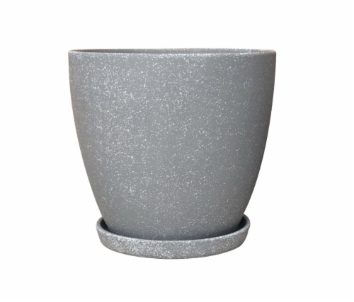 The Joy of Gardening Classic Egg Planter - Faux Cement Perspective: front