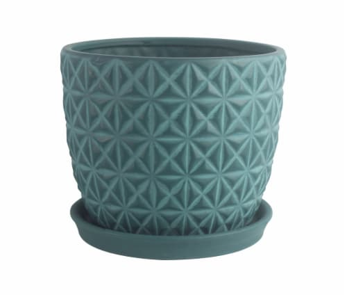 The Joy of Gardening Tribeca Planter - Teal Perspective: front