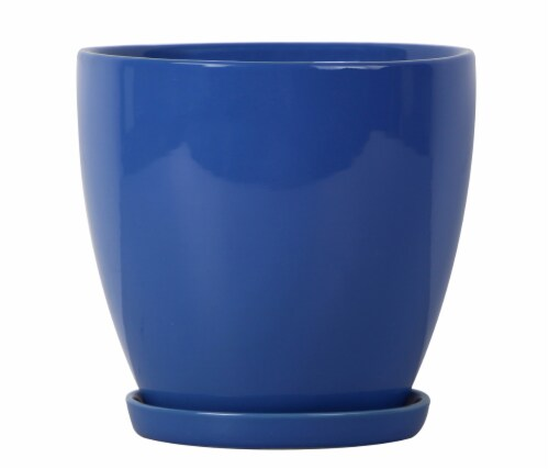 The Joy of Gardening Classic Egg Planter - Blue Perspective: front