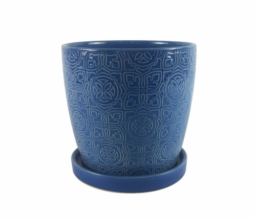 The Joy of Gardening Thames Planter - Blue Perspective: front