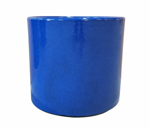 The Joy of Gardening Cylinder Planter - Blue Perspective: front