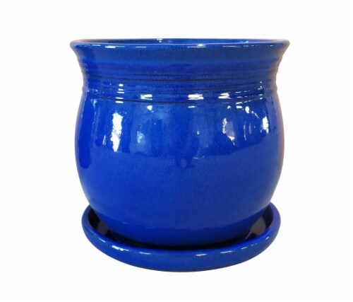 The Joy of Gardening Palermo Planter - Cobalt Perspective: front