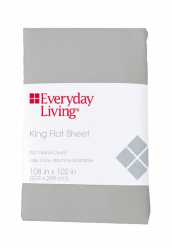 Everyday Living® 200 Thread Count Cotton/Polyester Flat Sheet - Quiet Gray Perspective: front