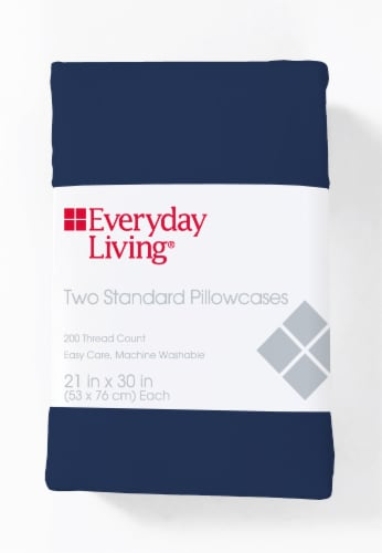 Everyday Living® T200 Cotton/Polyester Pillow Case - Estate Blue Perspective: front