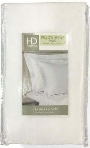 HD Designs® 210 Thread Count Pillow Shams - 2 Pack - White Perspective: front
