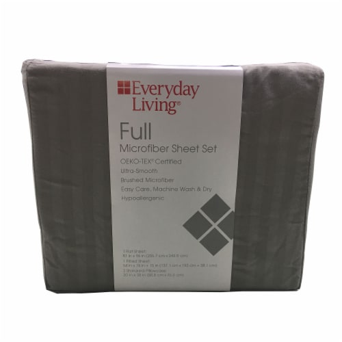 Everyday Living® Microfiber Striped Sheet Set - 4 Piece - Frost Gray Perspective: front