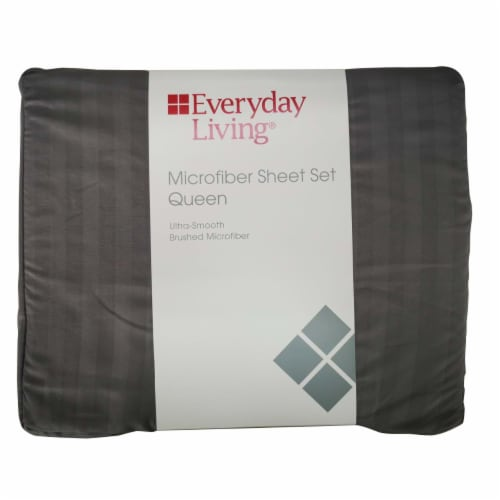 Everyday Living Microfiber Striped Sheet Set - 4 Piece - Frost Gray Perspective: front