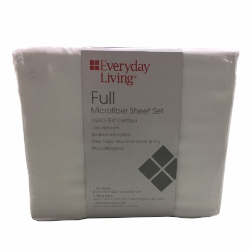 Everyday Living® Microfiber Sheet Set - 4 Piece - Bright White Perspective: front