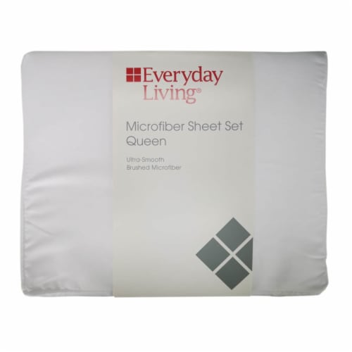 Everyday Living Microfiber Sheet Set - 4 Piece - Bright White Perspective: front