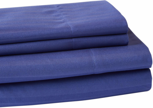 Everyday Living Microfiber Striped Sheet Set - 4 Piece - Twilight Blue Perspective: front