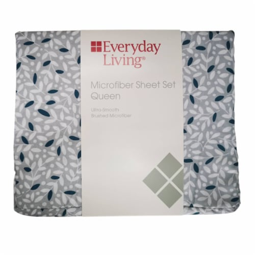 Everyday Living® Vines Print Microfiber Sheet Set – White/Gray Perspective: front