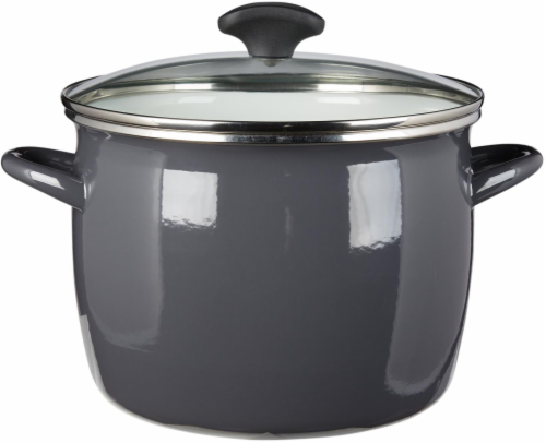 Dash of That Enamel on Steel Stock Pot with Lid - Gray Perspective: front