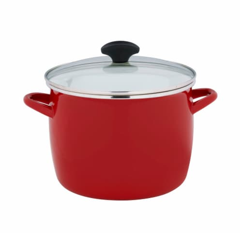Dash of That Enamel on Steel Stock Pot with Lid - Red Perspective: front
