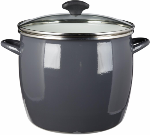 Dash of That Steel Stock Pot with Lid - Gray Perspective: front