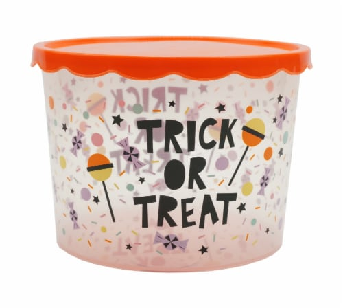 Holiday Home Trick or Treat Cookie Container Perspective: front
