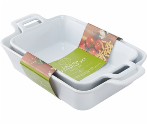 Dash of That™ Stoneware Oblong Casserole Set  - White Perspective: front