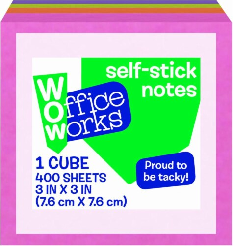 Office Works® Self Stick Note Cube - Assorted Perspective: front