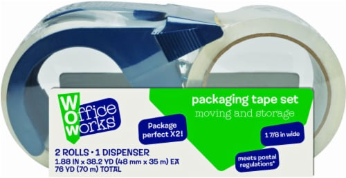 Office Works® Packaging Tape Set - 2 Pack - Clear Perspective: front