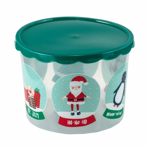 Holiday Home Snowglobes Food Container Perspective: front