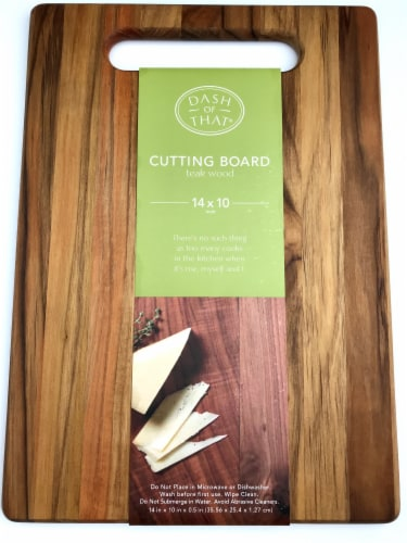 Dash of That® Teak Wood Cutting Board - Natural Perspective: front