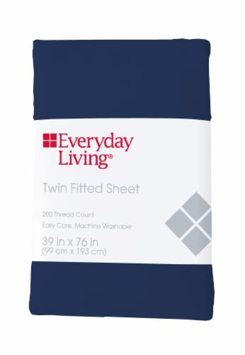 Everyday Living® Cotton/Polyester 200 Thread Count Fitted Sheet - Estate Blue Perspective: front