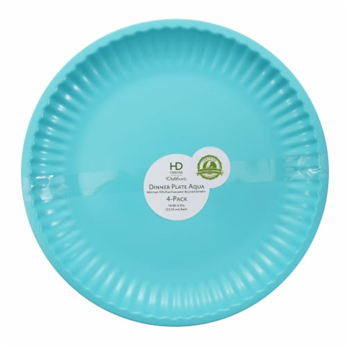 HDO Recycled Paper Plate Style Dinner Plates - Aqua Perspective: front
