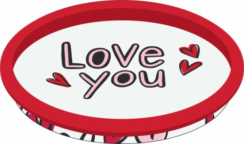 Holiday Home Love You Tin Tray - White/Red Perspective: front
