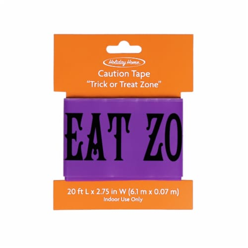 Holiday Home® Trick or Treat Zone Tape - Purple/Black Perspective: front