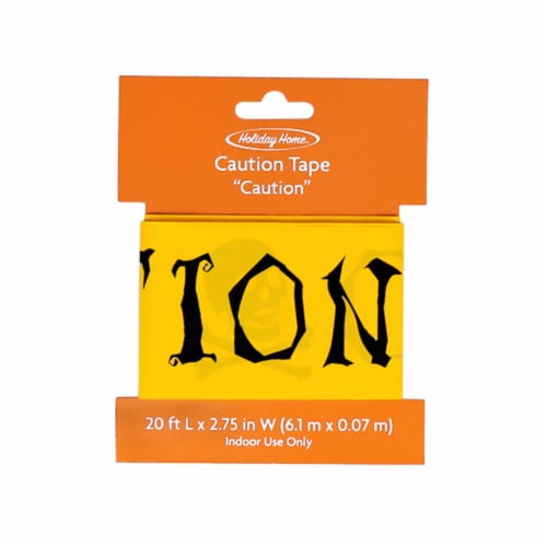 Holiday Home® Skull and Bones Caution Tape - Yellow/Black Perspective: front