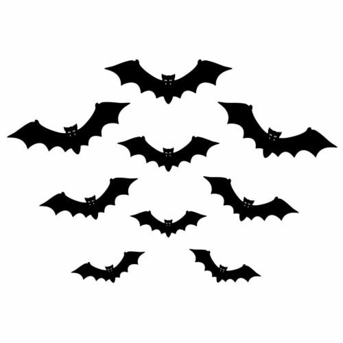 Holiday Home Giant Garage Door Silhouette Bats Decor - Black Perspective: front