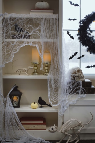 Holiday Home Creepy Fabric Decoration - White Perspective: front