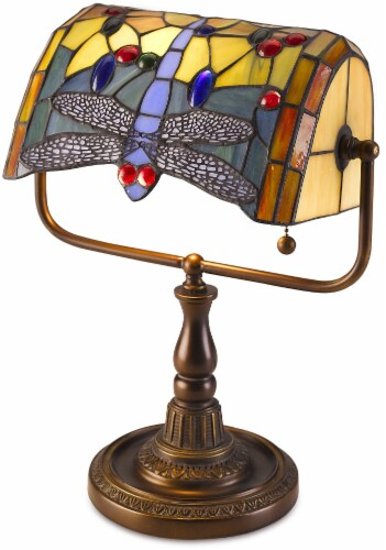 HD Designs Tiffany Dragonfly Banker's Lamp Perspective: front