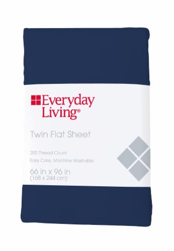 Everyday Living® Cotton/Polyester 200 Thread Count Flat Sheet - Estate Blue Perspective: front
