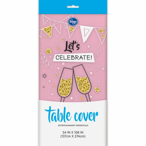 Kroger Plastic Table Cover - Lovely Pink Perspective: front