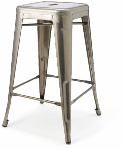 HD Designs Metal Bar Stool - Silver Perspective: front