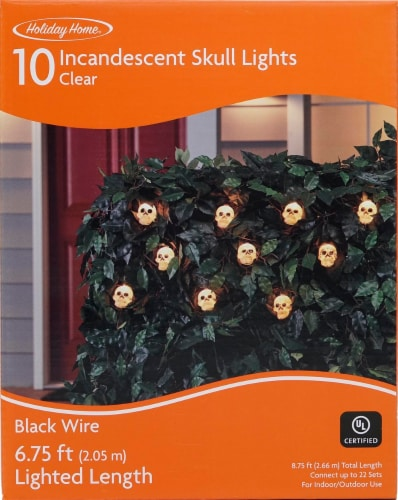 Holiday Home® 10 Incandescent Skull Lights - Clear Perspective: front