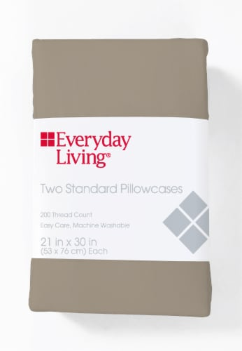 Everyday Living Cotton/Polyester 200 Thread Count Pillow Cases - Cobblestone Perspective: front