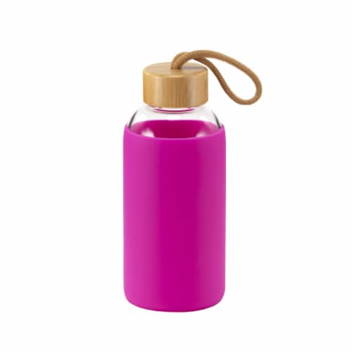 HD Designs Outdoors Glass Water Bottle with Bamboo Lid - Festival Fuchsia Perspective: front