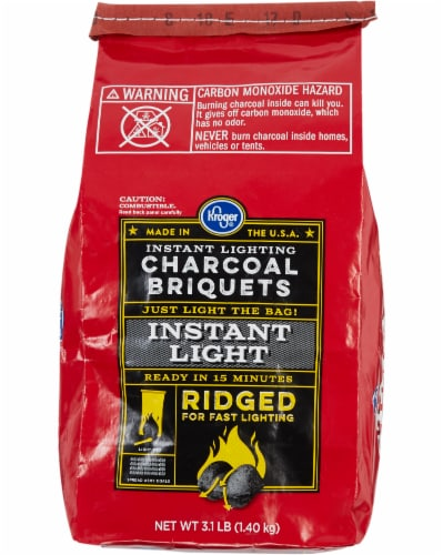 Kroger® Ridged Instant Light Charcoal Briquets Perspective: front