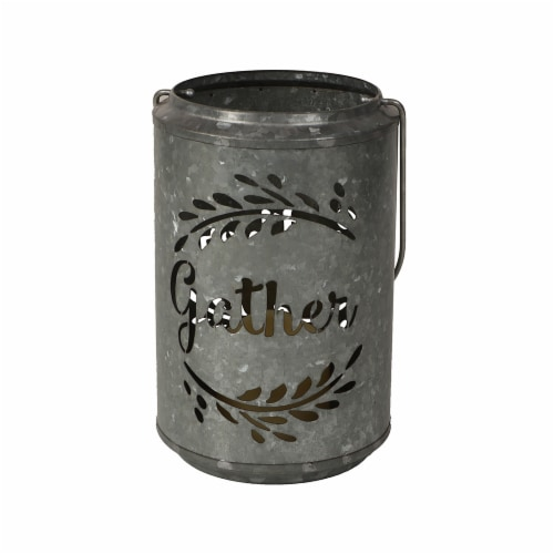 HD Designs Holiday Gather Steel Cut LED Lantern Perspective: front