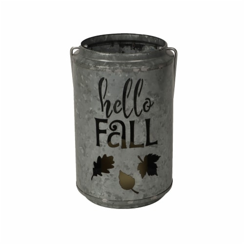 HD Designs Hello Fall Steel Cutout LED Lantern - Silver Perspective: front