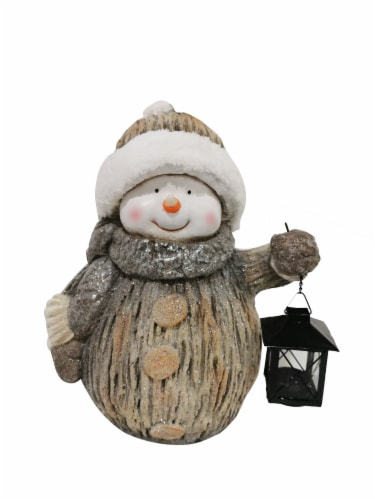 Holiday Home Snowman With Lantern Decor - White/Brown Perspective: front