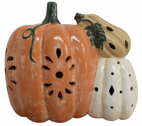 Earth Accents Harvest Triple Pumpkin Luminary Decoration Perspective: front