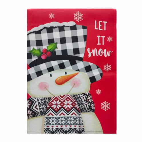Holiday Home Let it Snow Suede Garden Flag Perspective: front