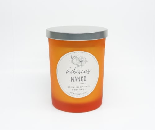 HD Designs Hibiscus Mango Jar Candle Perspective: front