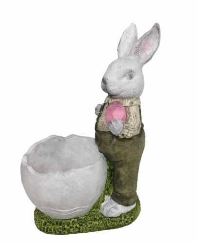 Holiday Home Boy Rabbit Planter Perspective: front